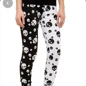 Hot Topic Black White Skull Leggings Large